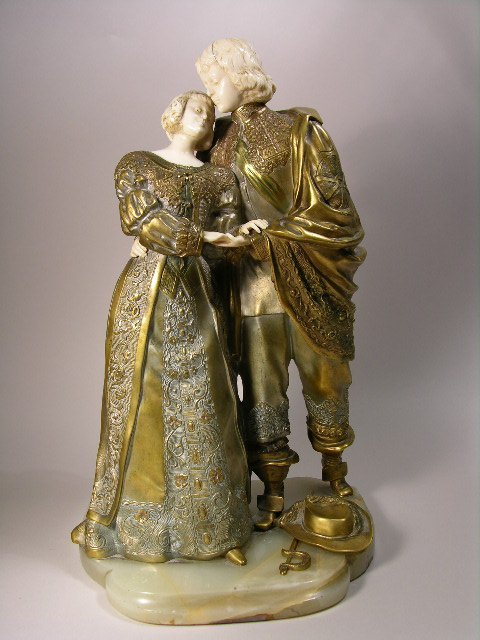 978: MARQUET BRONZE AND IVORY FIGURINE.