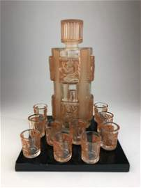 Rene Lalique decanter and 10 shot glasses in clear and