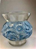 """Rene Lalique """"Soucis"""" vase with a light blue patina."""