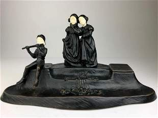 Bronze figural ink well signed F Pucher Two women