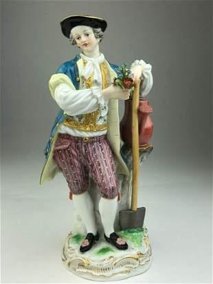 Meissen porcelain figure of a gardner with a spade