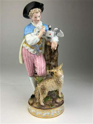 Meissen porcelain figure of a man with a sheep and a