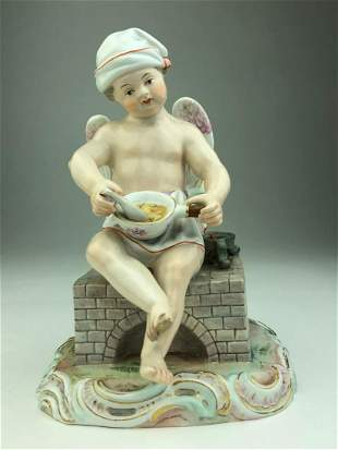 Meissen porcelain figure of a cupid sitting on a fire