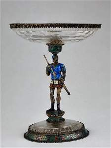 Circa 1860 Austrian rock crystal and enameled small