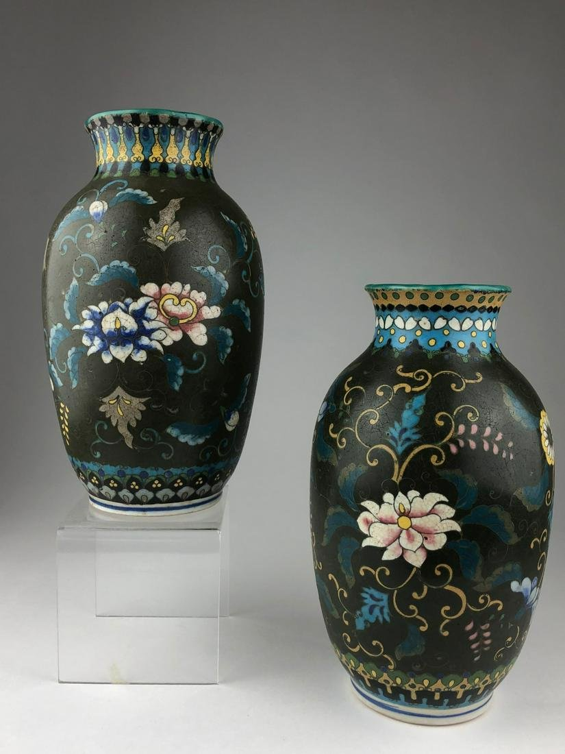 Two early 20 th century Japanese cloisonne on porcelain