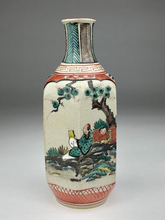 Late 20 th century Japanese six sided porcelain vase.