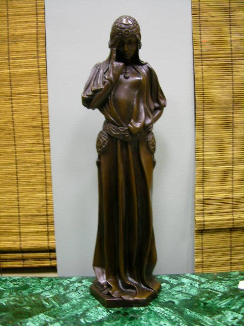 1355: BRONZE FIGURE OF A LADY THINKING.