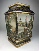 A magnificent Satsuma 4 sided vase depicting scenes  of