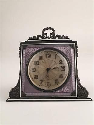 Tiffany and Company small easel machined enamel clock