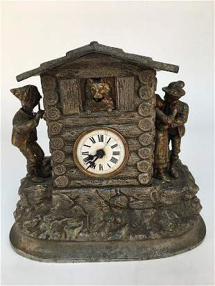 Antique bronze automaton on one side of a cabin is a