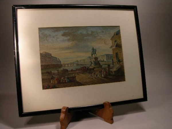 2009: EARLY 1800s FRENCH WATERCOLOR PAINTING...