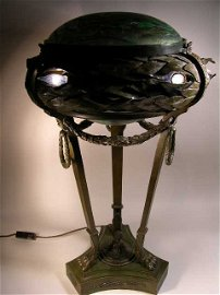2058: EXCEPTIONAL AND RARE BRONZE AND ART GLASS TABLE L