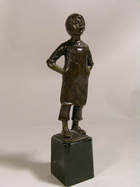 2300: BRONZE FIGURE OF A BOY WITH CIGAR.