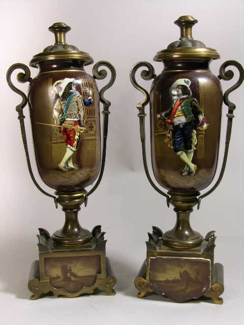 2322: PAIR OF 19th CENTURY FRENCH ENAMEL URNS