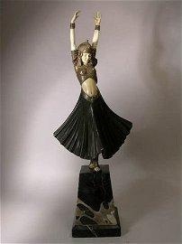 "2590: D. H. CHIPARUS BRONZE /IVORY  ""HINDU DANCER""."