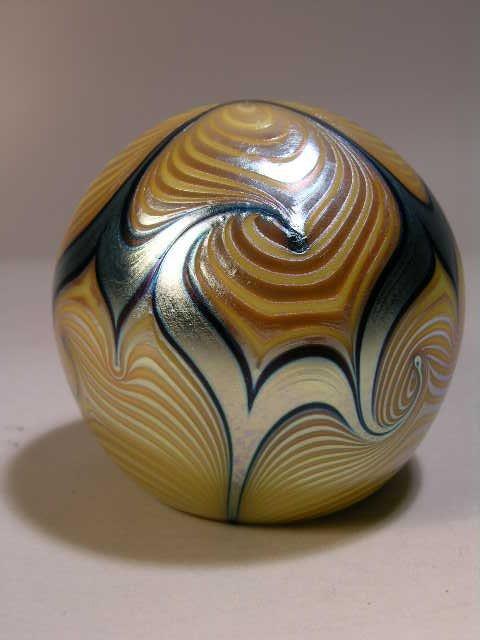 2755: CORREIA IRIDESCENT GLASS PAPERWEIGHT.