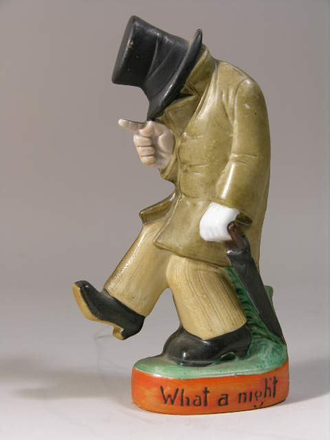 """2759: SHAFTER AND VATER FIGURAL MAN BOTTLE FLASK """"WHAT"""