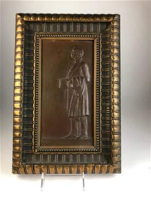 Framed bronze place of Carlos Pellegrini Born 1846