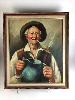 Framed oil on canvas of an old man wearing