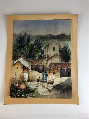 Watercolor on paper of a old home with tile roofs and