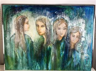 Modern acrylic on canvas of four young women