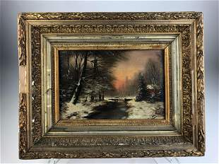 Framed oil on board of a winter scene with an