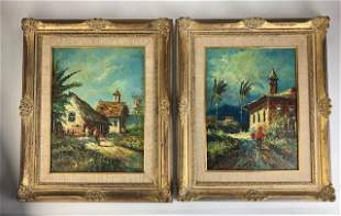 A Dubsky pair of oil on board paintings of a old