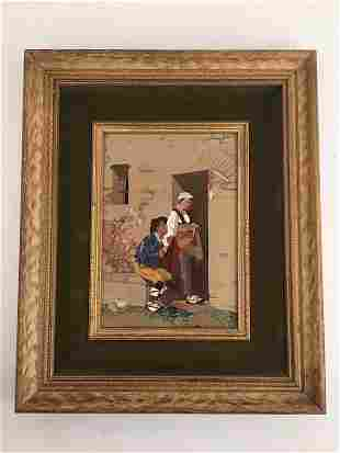 Pietra dura plaque depicting a woman feeding a beggar