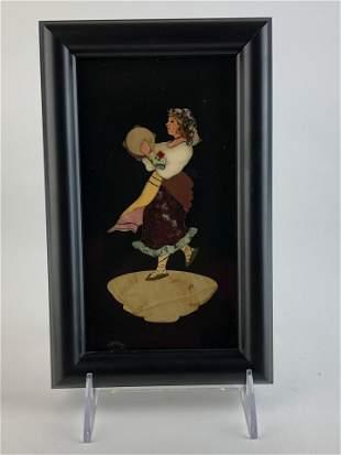 Pietra dura plaque of a lady with a tamborine