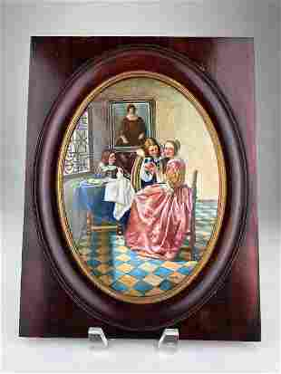 Oval painted plaque after Johannes Vermeer titled Girl