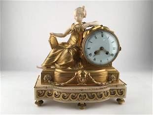 19th Century European gilt bronze and mantle clock
