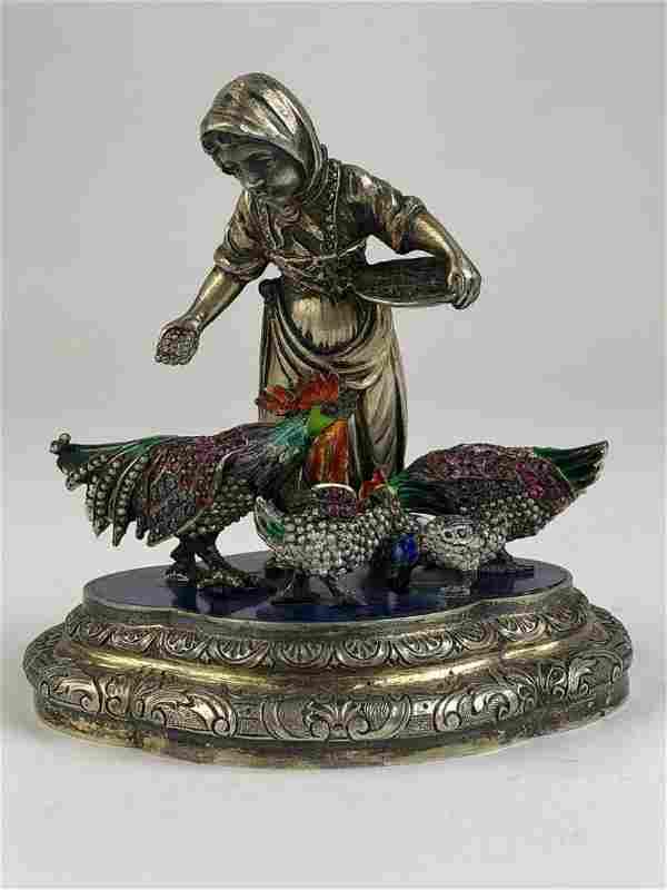 Antique Austrian enameled bronze figurine of a lady