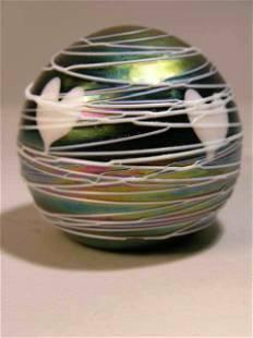 TERRY CRIDER IRIDESCENT GLASS PAPERWEIGHT.