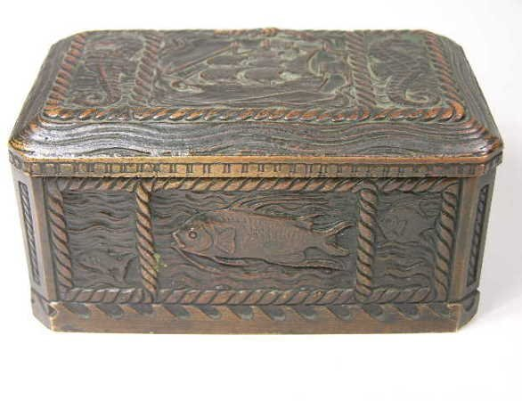 "1201: TIFFANY STUDIOS ""NAUTICA"" DESK BOX."