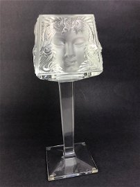 """Lalique """"Masque de Femme"""" candle holder with footed"""