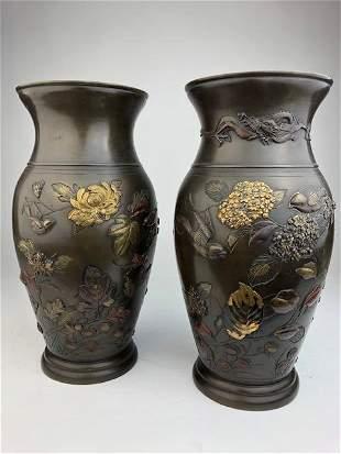 Pair of Japanese mixed metal vases Meiji period