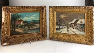 Antique pair of framed oil on canvas one is of a