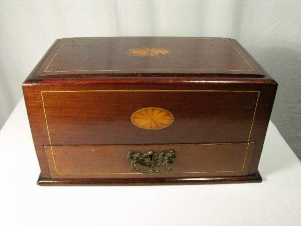 17: EDWARDIAN STORAGE BOX WITH TWO BRASS HANDLES.