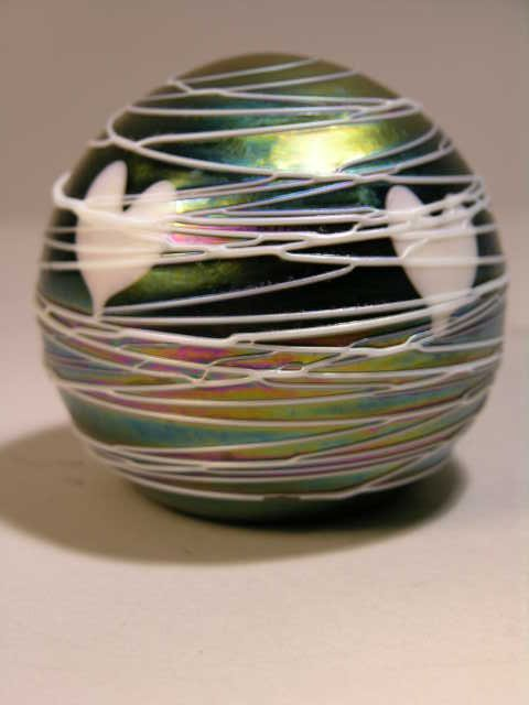 510: TERRY CRIDER SIGNED  IRIDESCENT GLASS PAPERWEIGHT.