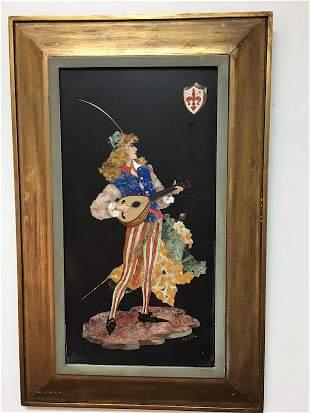 """Pietra dura plaque signed """"A. Montelataci""""."""
