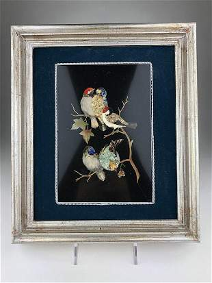 Framed pietra dura plaque with five birds sitting on