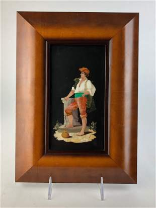 Pietra dura plaque of a man wearing a hat standing with