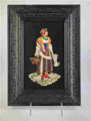 Pietra dura plaque of a lady with a basket of eggs