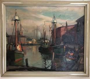 """Emile Albert Gruppe. """"Fishermans Wharf, Glouchester""""."""