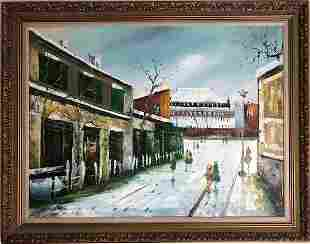 Framed oil on canvas of a winter town scene. Arist