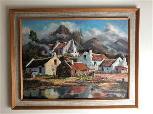 Les Hosken, Oil on canvas. Framed scene of a town with