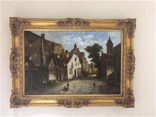 Oil on canvas of an old European street scene.