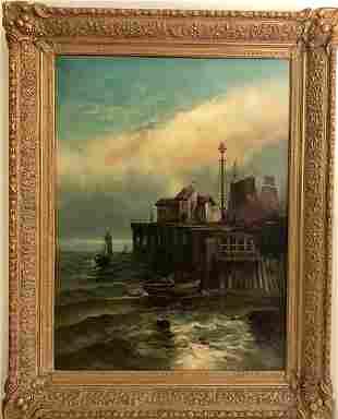 American School, 19th century, Harbor Scene, oil on