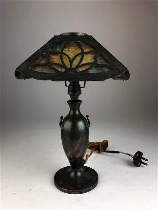 Pairpoint copper balaster shaped boudoir lamp wit two