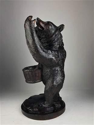 Antique Swiss black forest wood Bear tobacco holder